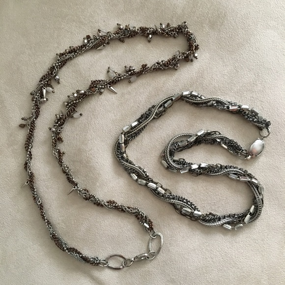 Banana Republic Jewelry - Pair of silver tone twisted beaded necklaces